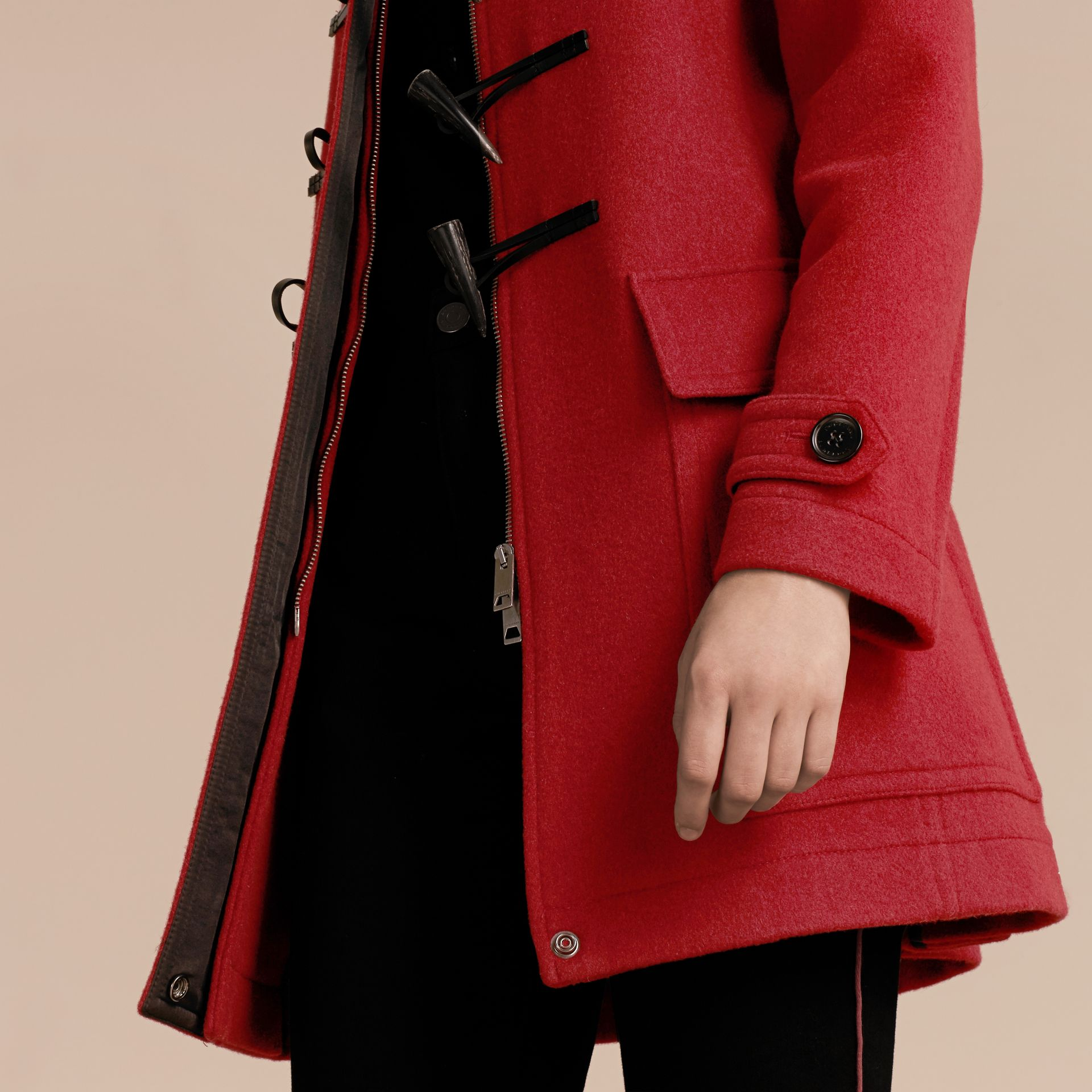 Windsor red Wool Duffle Coat with Check and Hearts Lining Windsor Red - gallery image 5