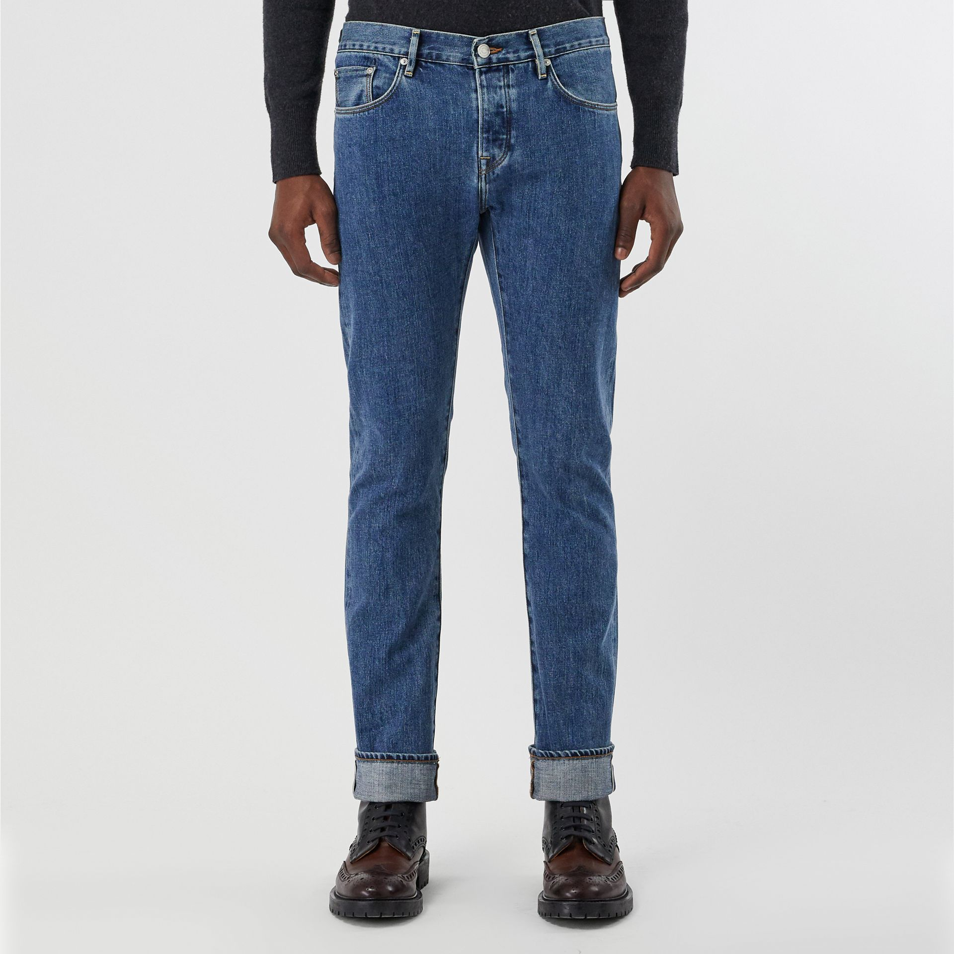 Straight Fit Stonewashed Jeans in Mid Indigo - Men | Burberry - gallery image 3