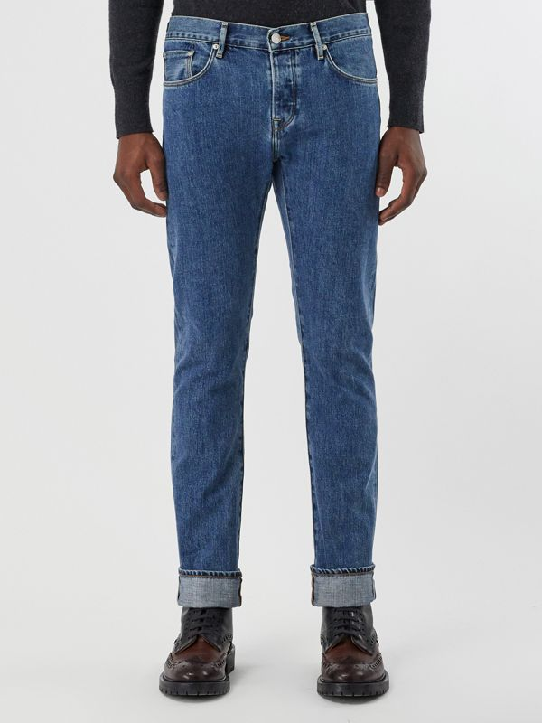 Straight Fit Stonewashed Jeans in Mid Indigo - Men | Burberry Canada - cell image 3