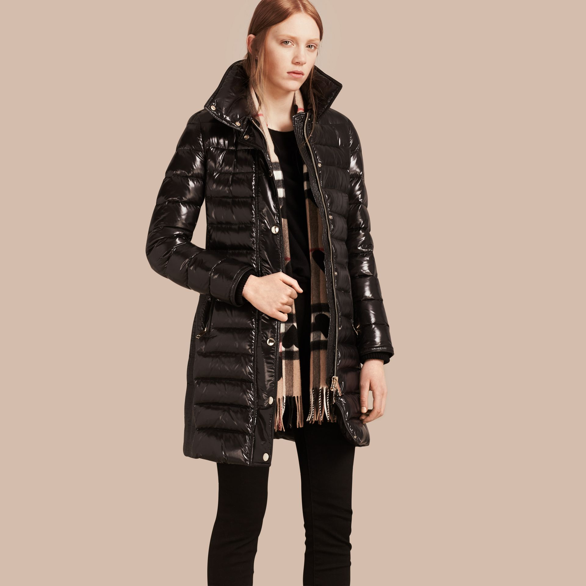 Down-Filled Coat with Detachable Fur-trimmed Hood in Black - gallery image 1
