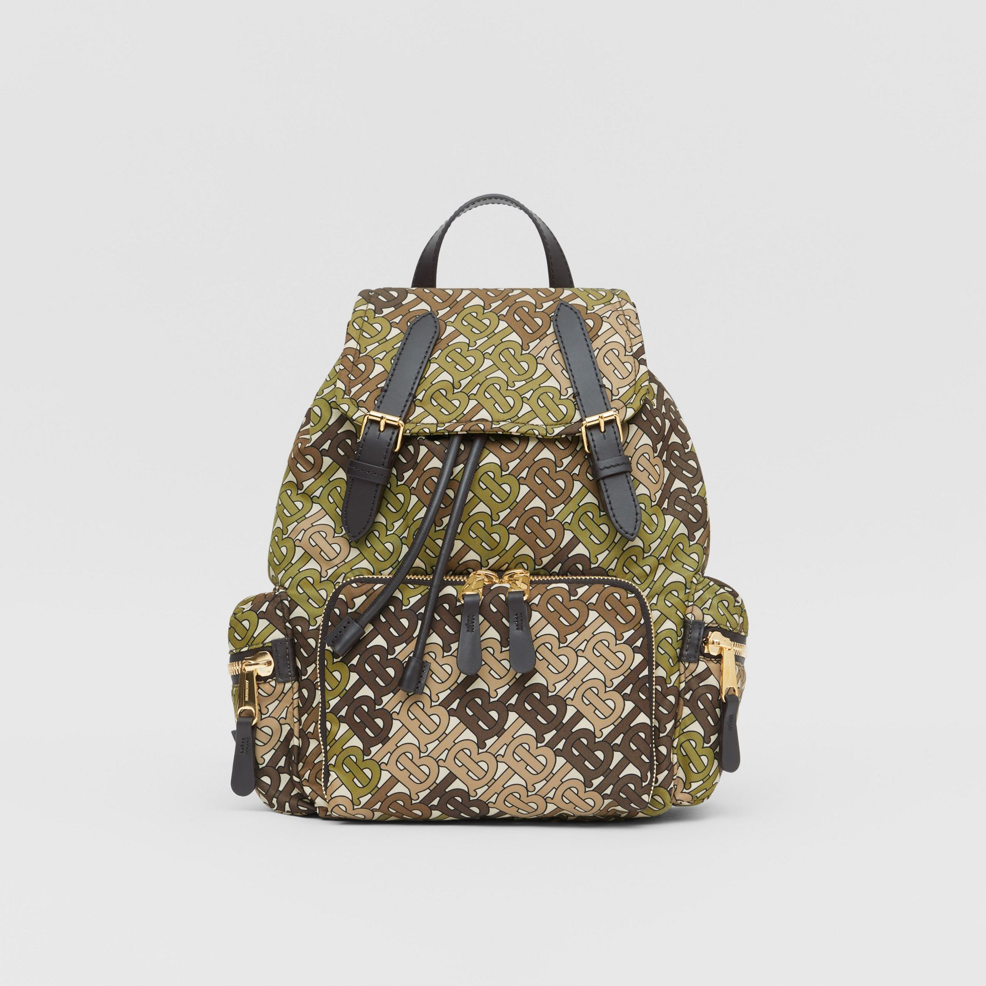 The Medium Rucksack in Monogram Print Nylon in Khaki Green - Women | Burberry United Kingdom - gallery image 0