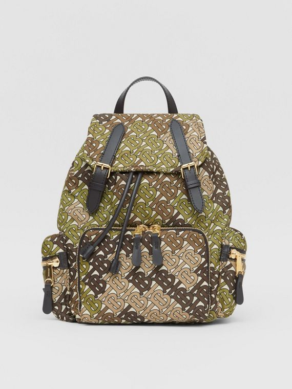 The Medium Rucksack in Monogram Print Nylon in Khaki Green