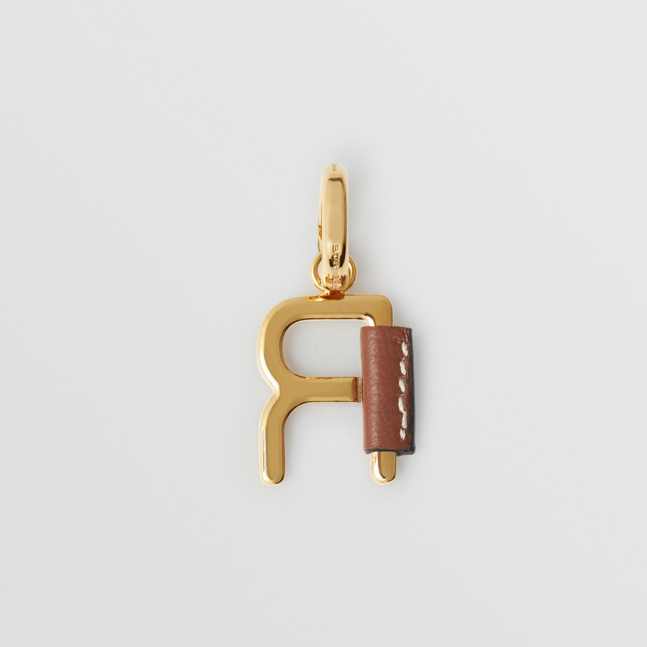 Leather-wrapped 'R' Alphabet Charm in Light Gold/tan - Women | Burberry - 4
