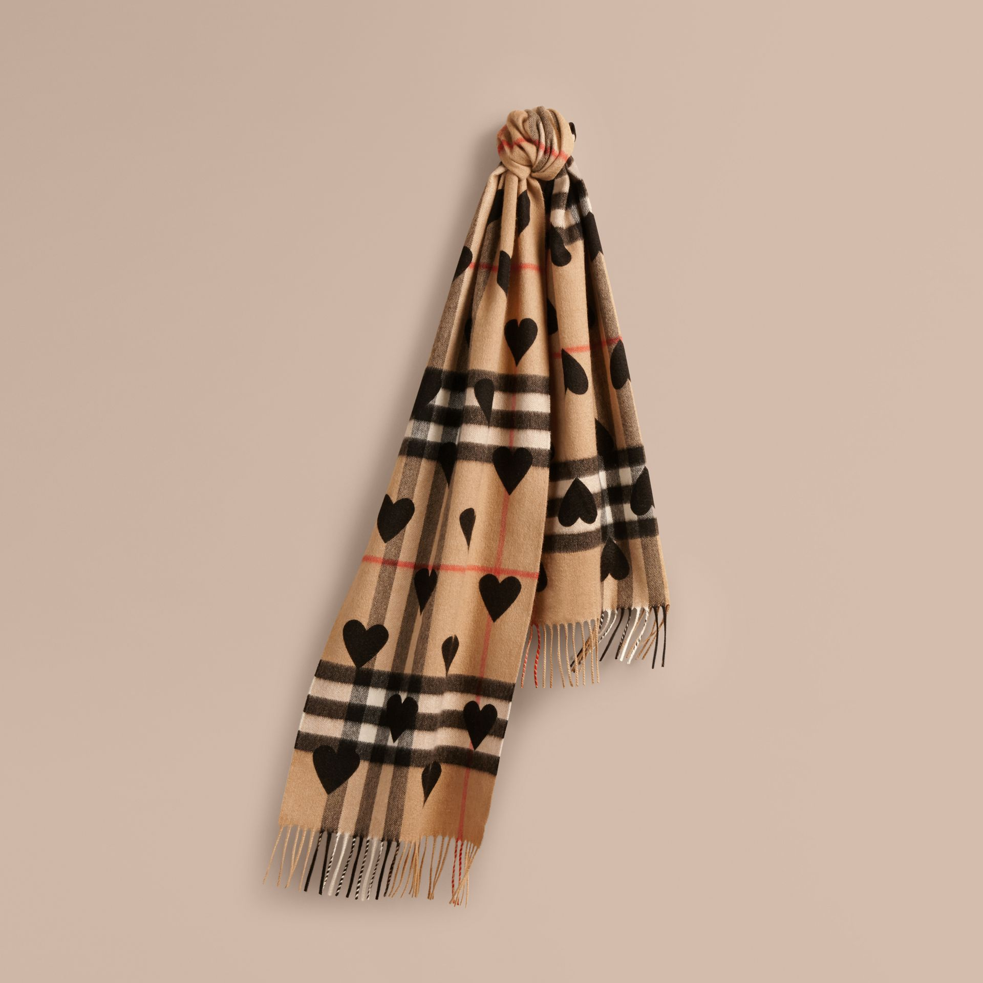 The Classic Cashmere Scarf in Check and Hearts in Black - gallery image 6