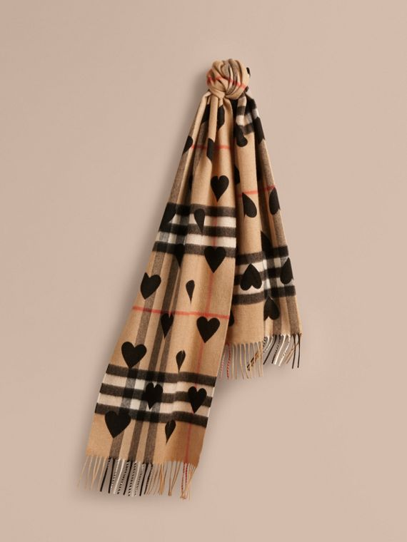 The Classic Cashmere Scarf in Check and Hearts in Black | Burberry
