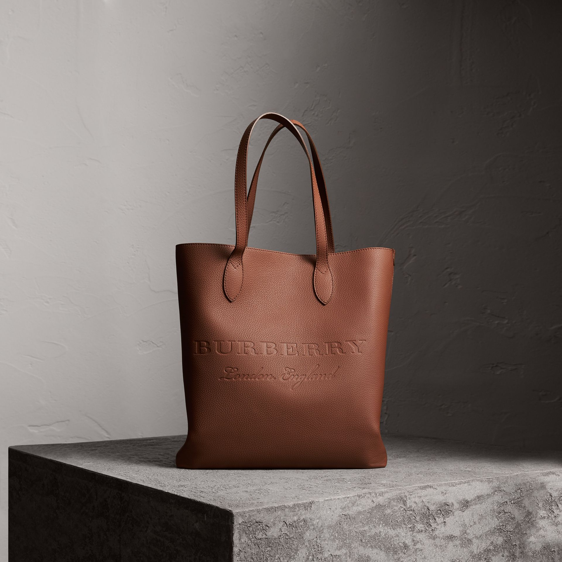 Embossed Leather Tote in Chestnut Brown | Burberry - gallery image 0