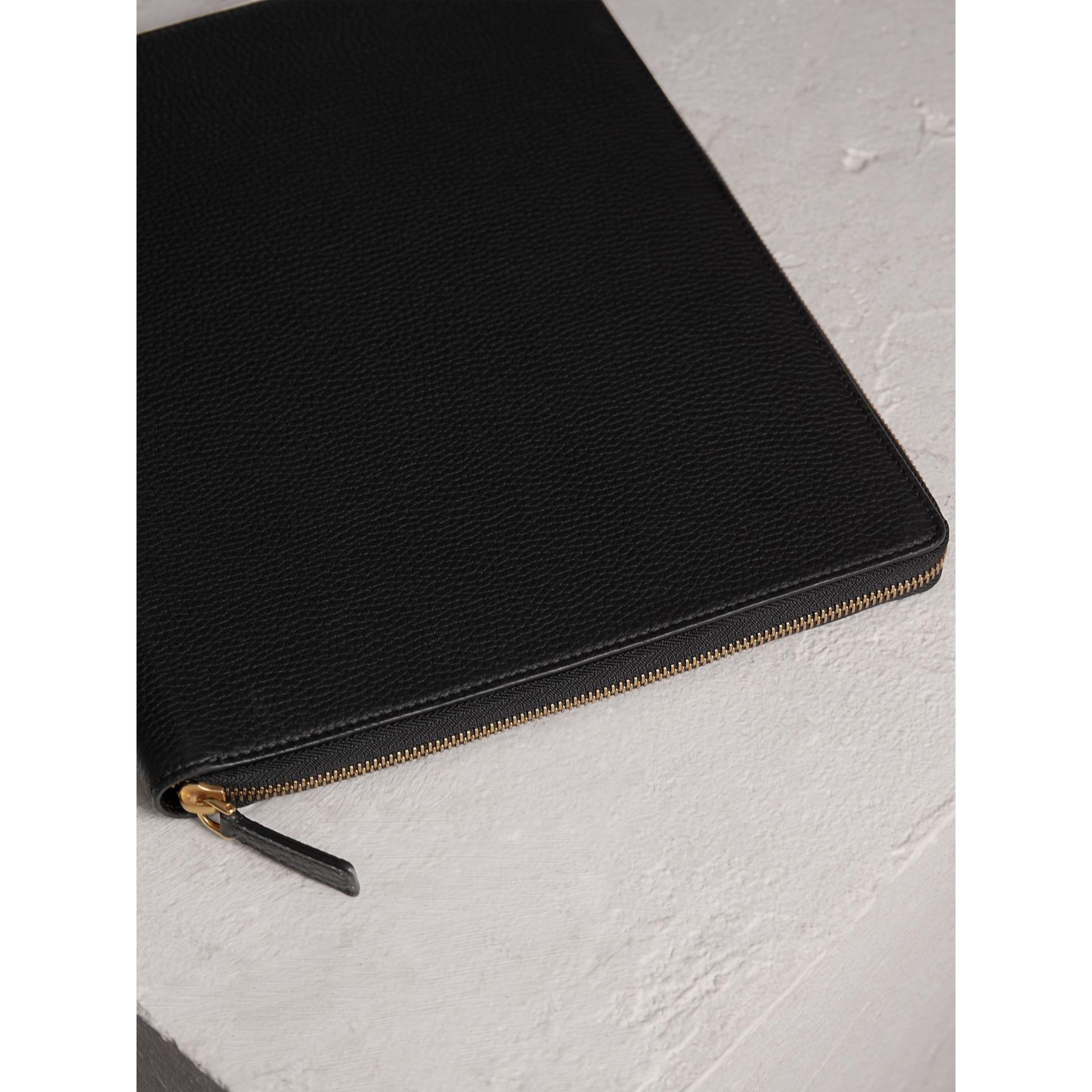 Embossed Grainy Leather Ziparound A4 Notebook Case in Black | Burberry Australia - gallery image 2