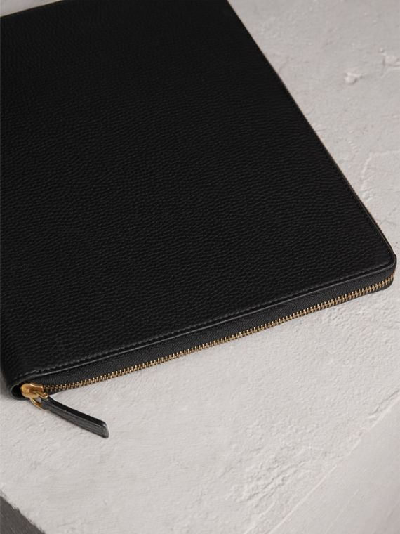 Embossed Grainy Leather Ziparound A4 Notebook Case in Black | Burberry - cell image 2