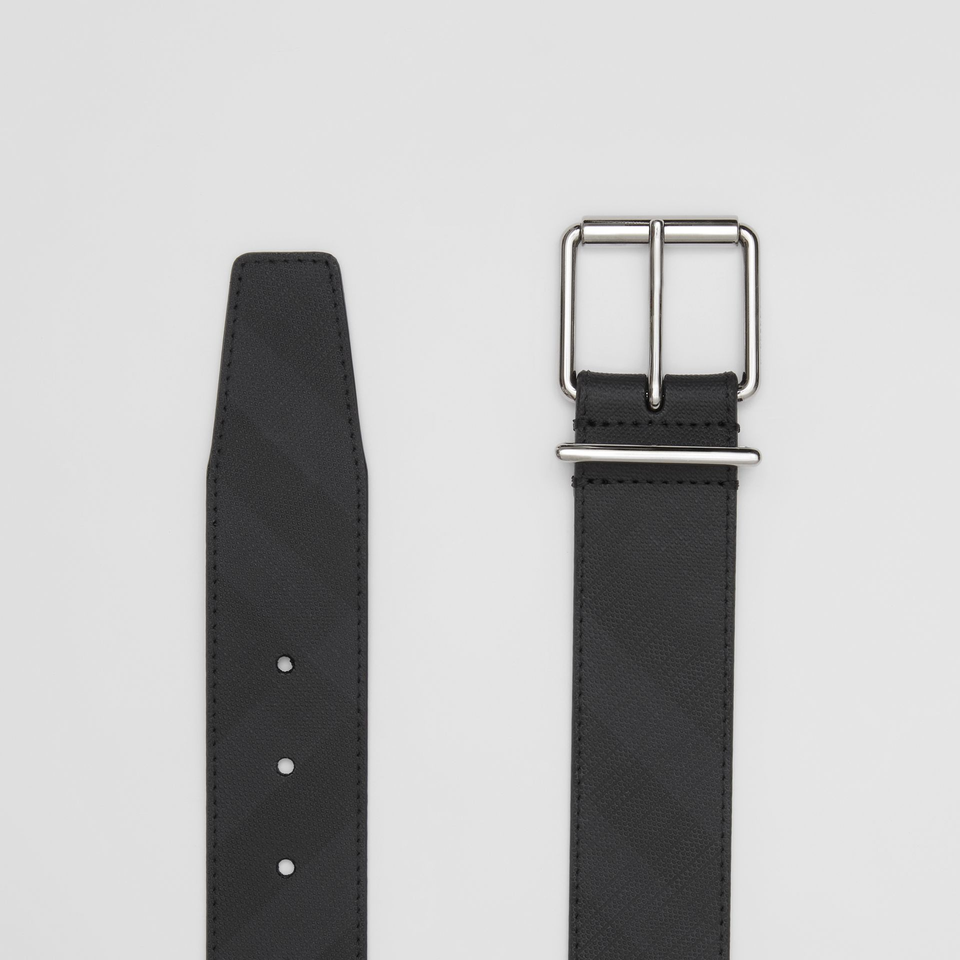 London Check and Leather Belt in Dark Charcoal - Men | Burberry - gallery image 4