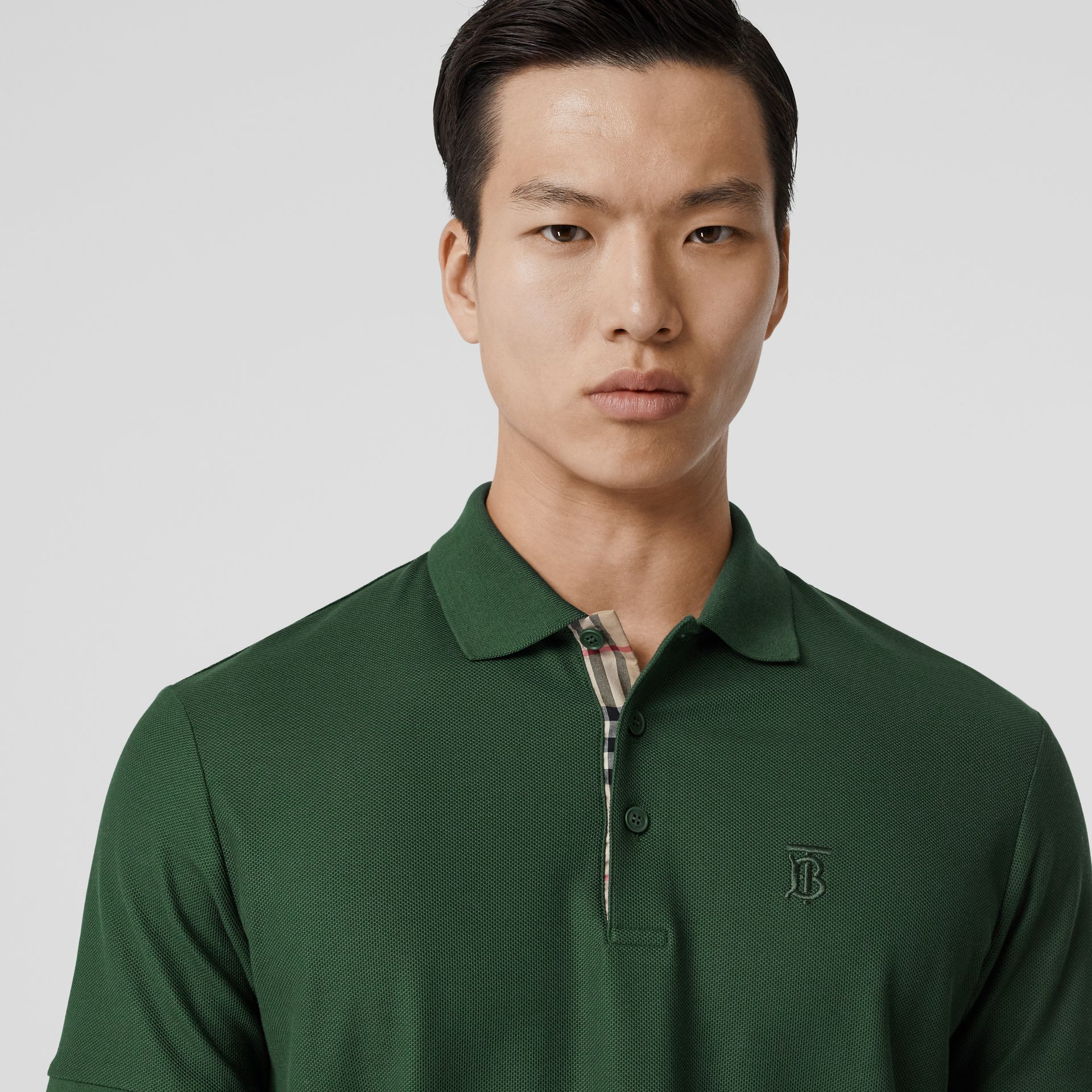 Monogram Motif Cotton Piqué Polo Shirt in Dark Pine Green - Men | Burberry - gallery image 1