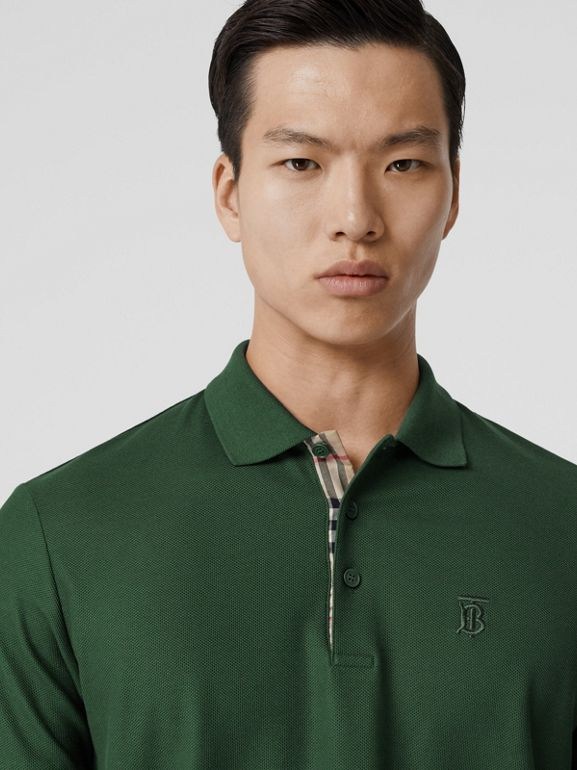 Monogram Motif Cotton Piqué Polo Shirt in Dark Pine Green - Men | Burberry Hong Kong S.A.R - cell image 1