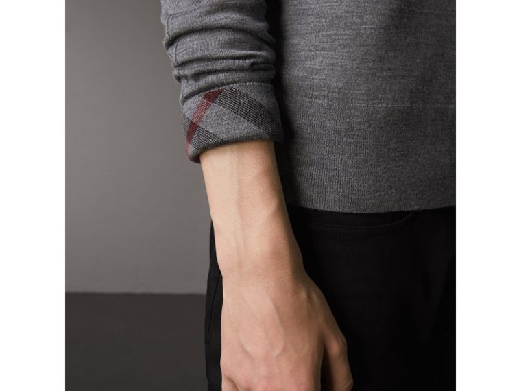 Merino Wool V-neck Sweater in Mid Grey Melange - Men | Burberry - cell image 1