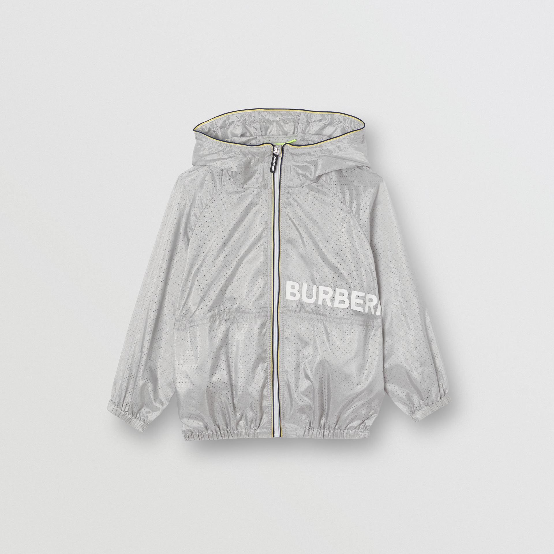 Logo Print Perforated Hooded Jacket in Silver | Burberry - gallery image 0