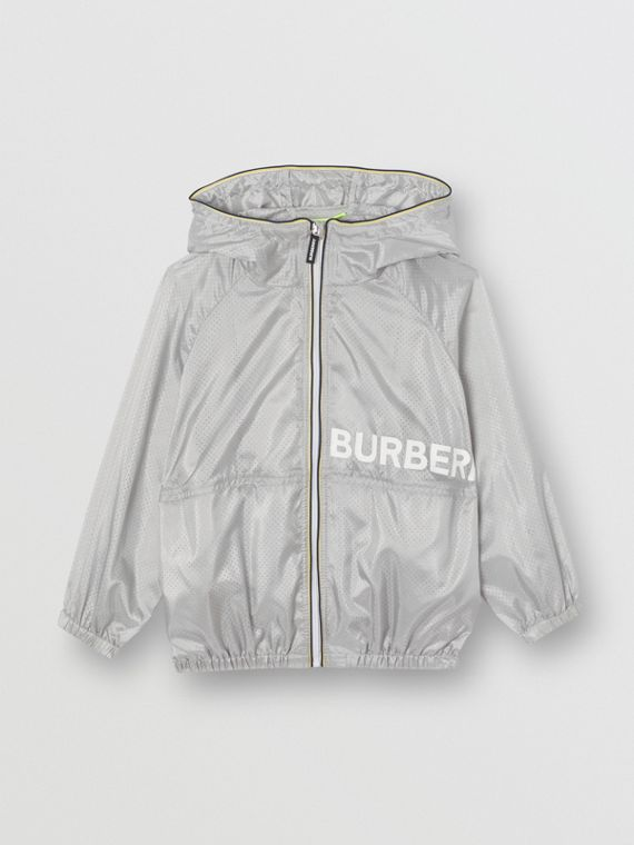 Logo Print Perforated Hooded Jacket in Silver