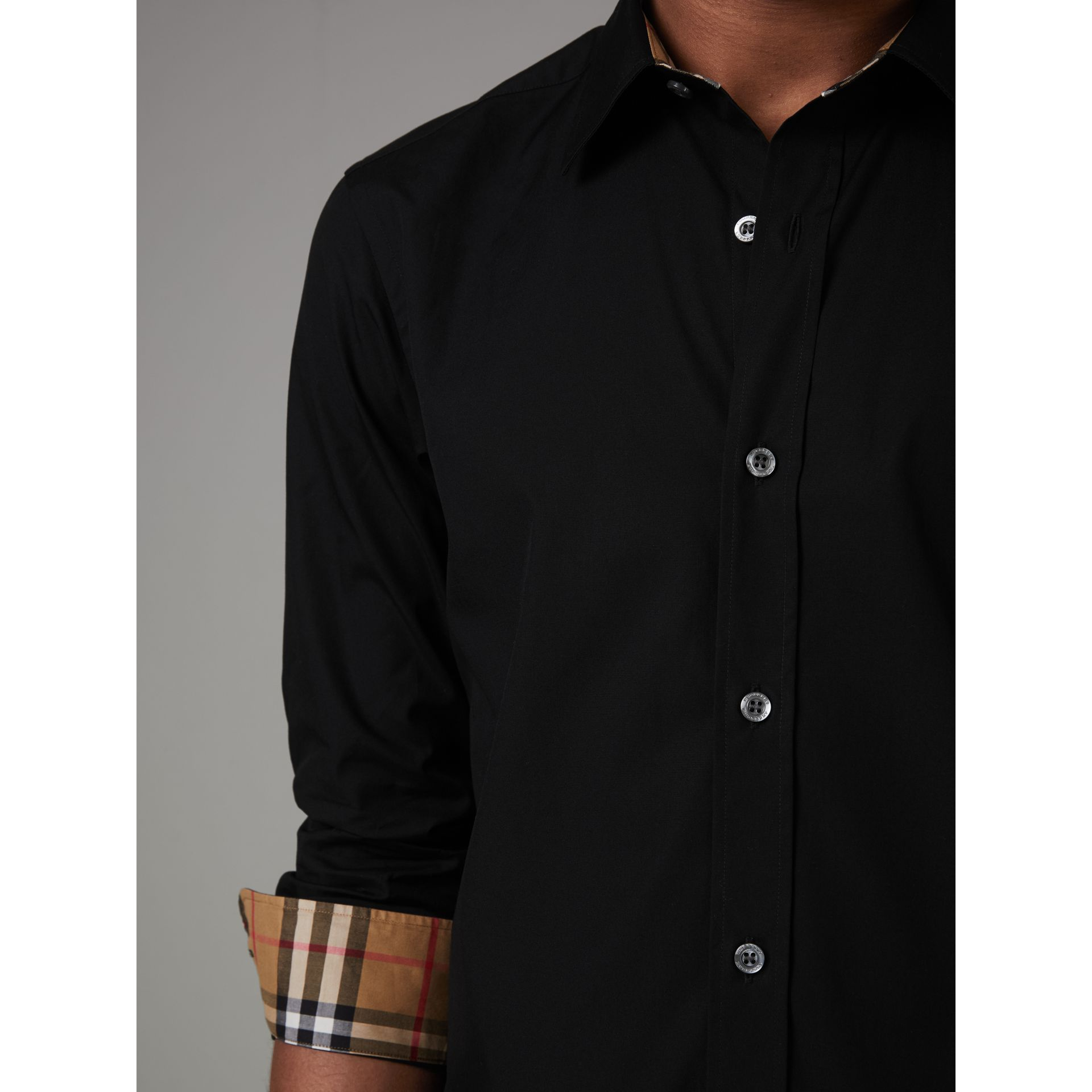 Check Cuff Stretch Cotton Poplin Shirt in Black - Men | Burberry - gallery image 4