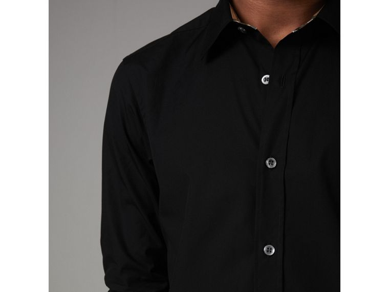 Check Cuff Stretch Cotton Poplin Shirt in Black - Men | Burberry - cell image 4