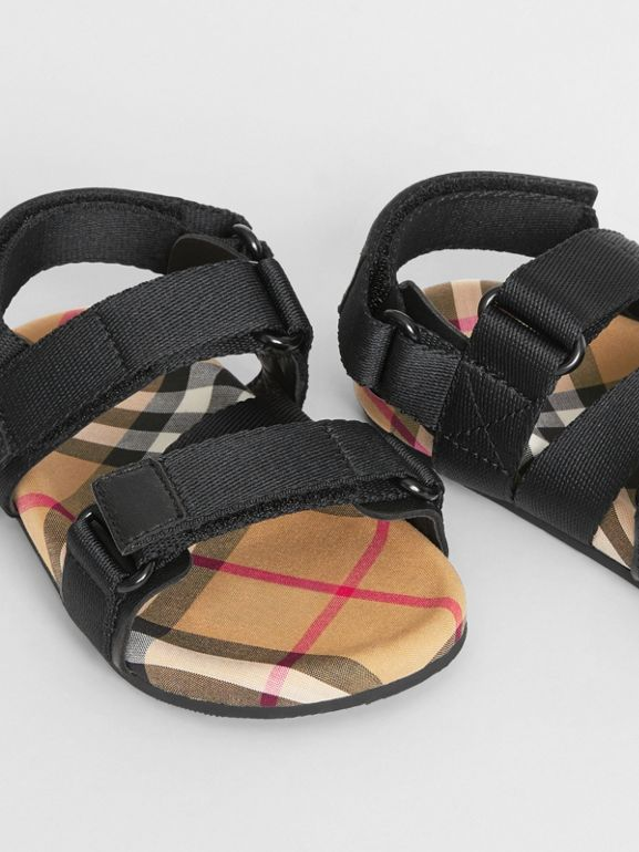 Ripstop Strap Vintage Check Cotton Sandals in Black/antique Yellow - Children | Burberry - cell image 1