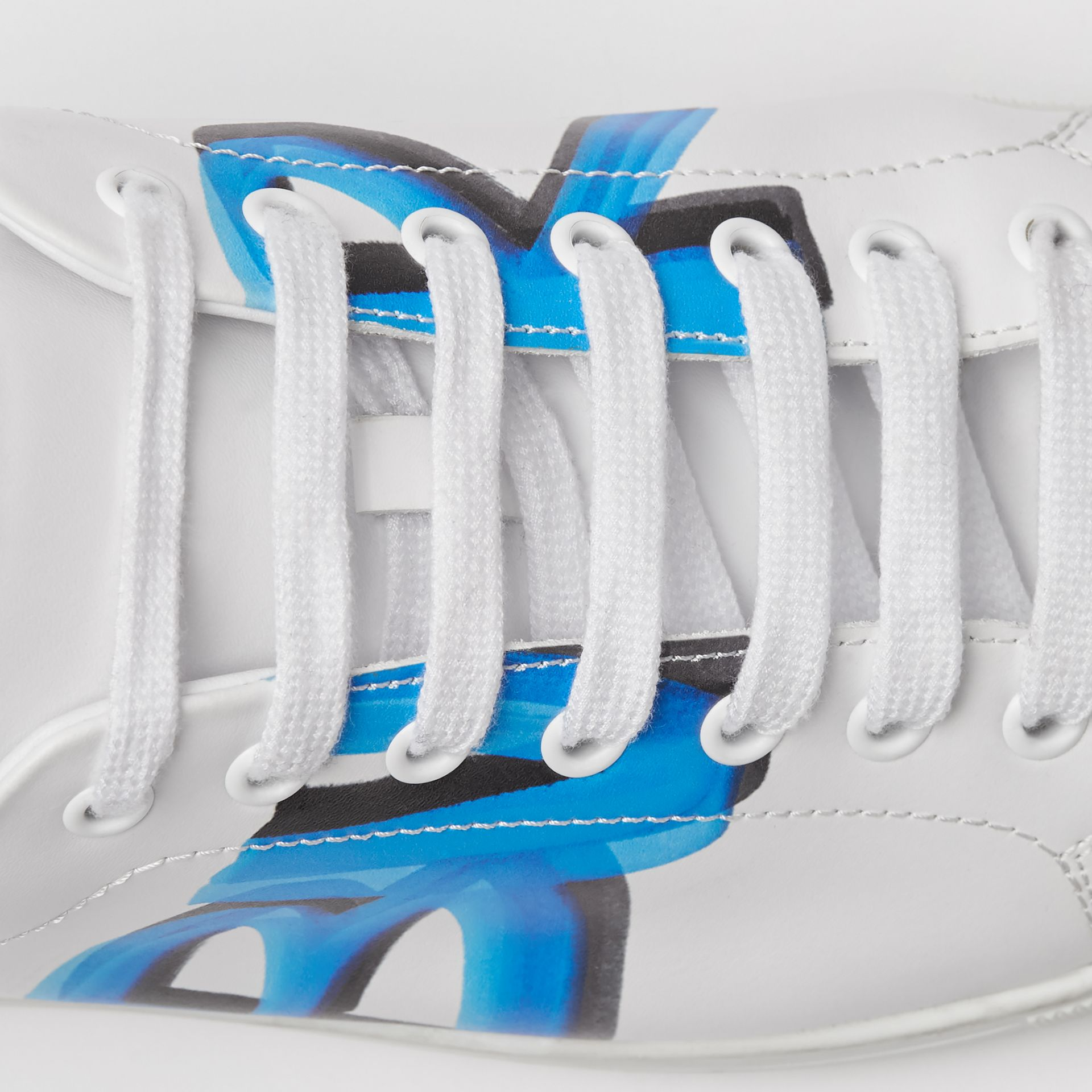 Logo Print Leather Sneakers in Optic White/bright Sky Blue - Men | Burberry - gallery image 1