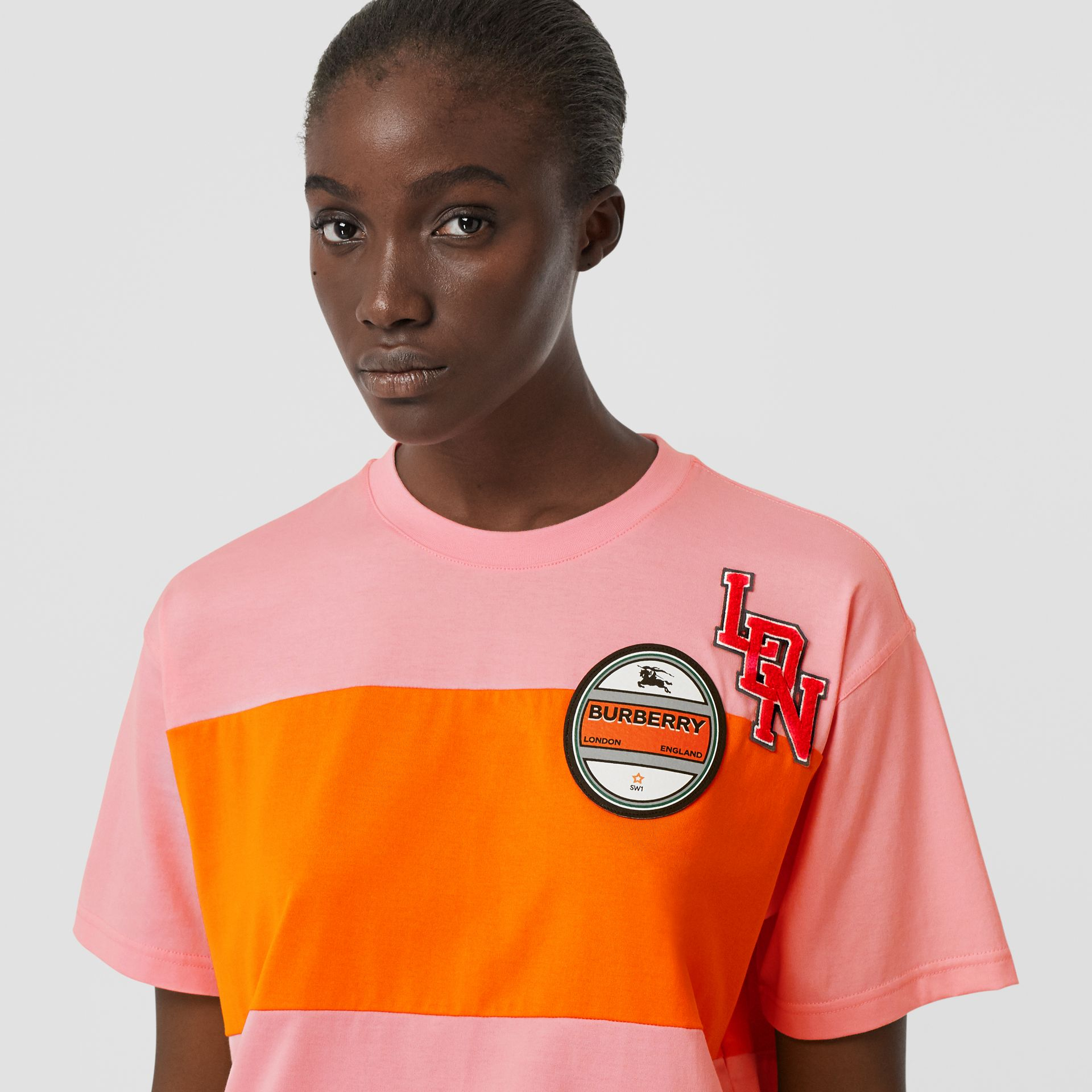 Logo Graphic Panelled Cotton Oversized T-shirt in Candy Pink - Women | Burberry - gallery image 1