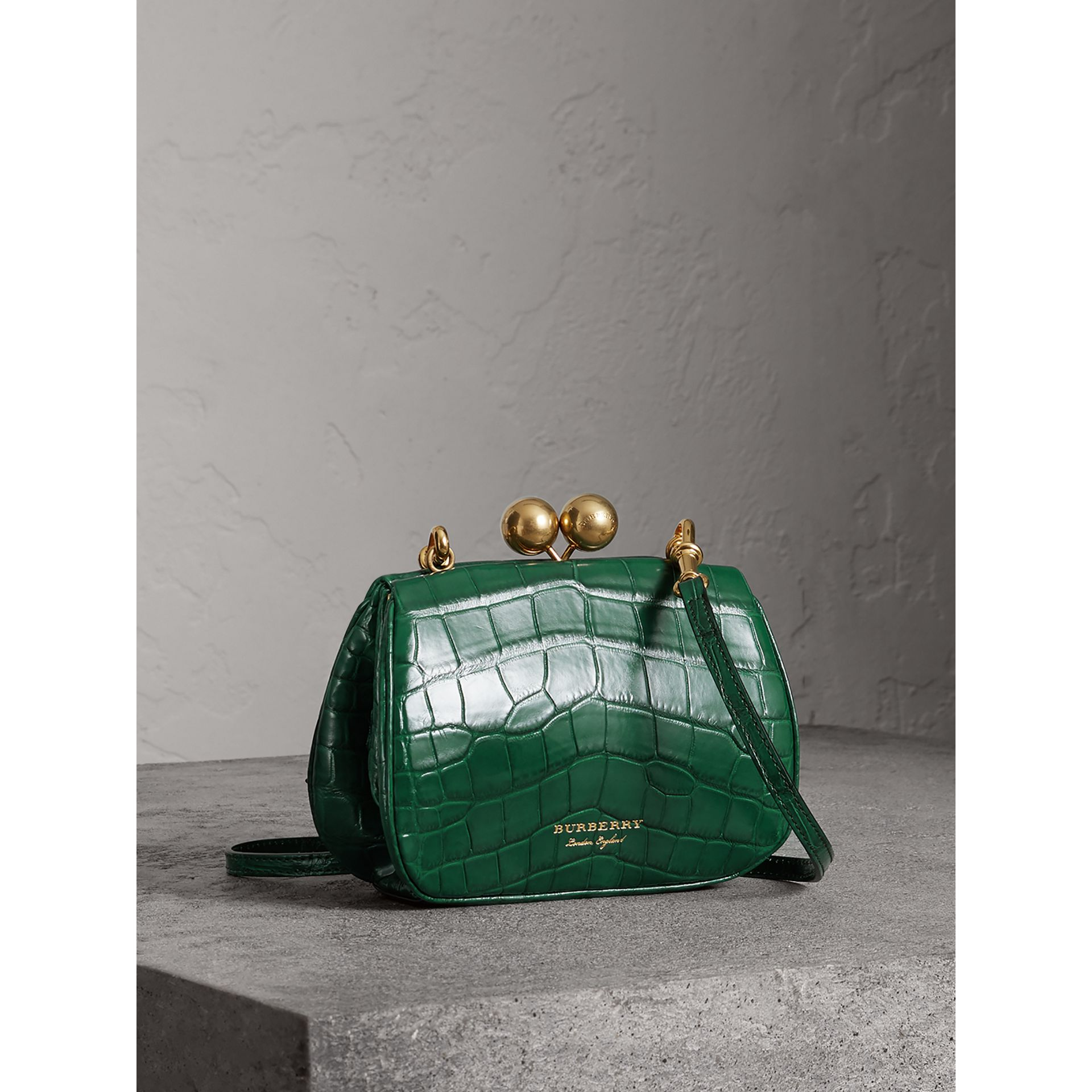 Small Alligator Metal Frame Clutch Bag in Dark Green - Women | Burberry - gallery image 6