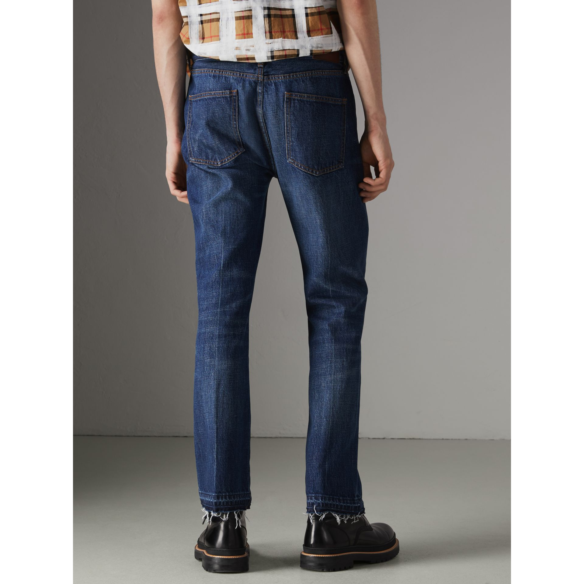 Slim Fit Bootcut Jeans in Indigo Blue - Men | Burberry United Kingdom - gallery image 2