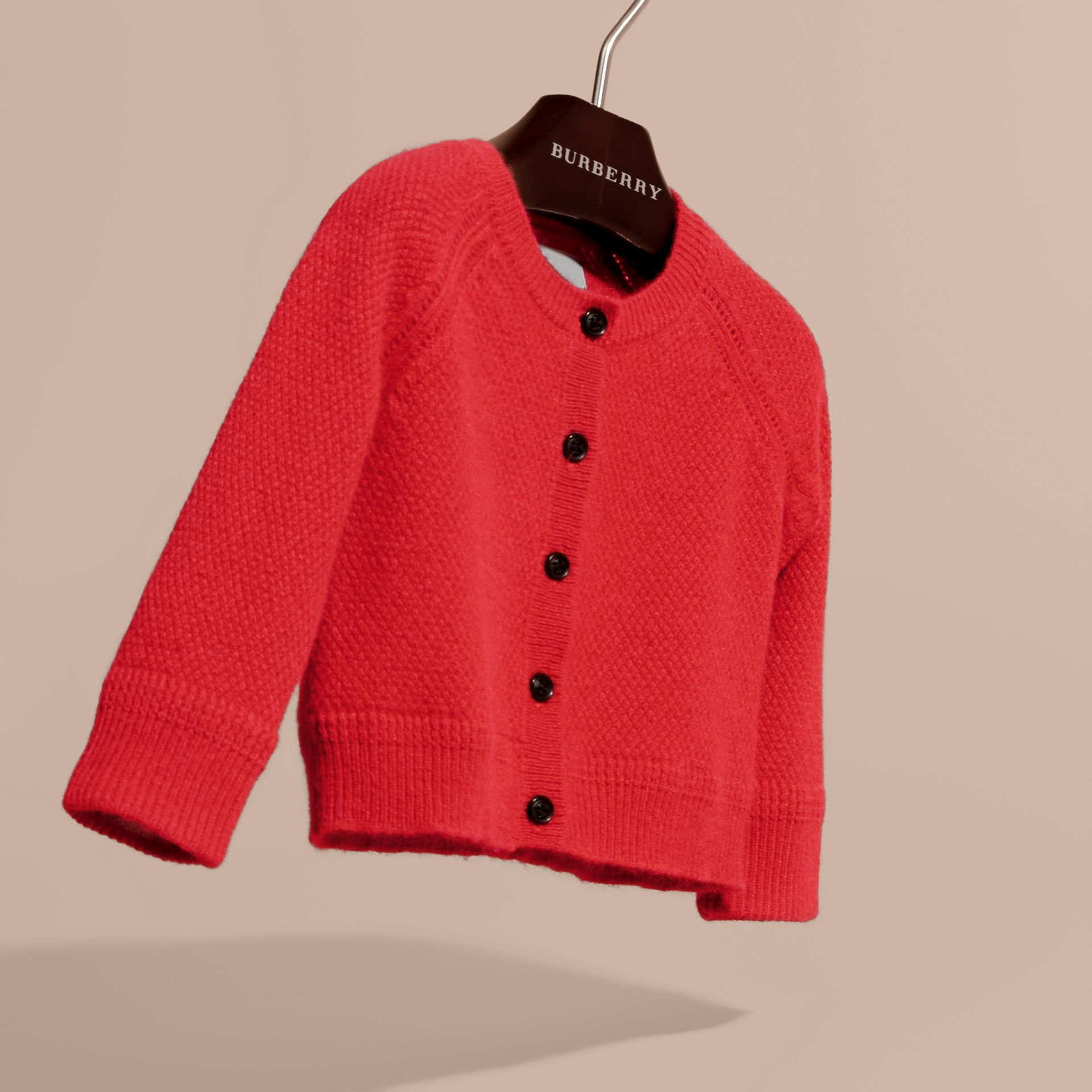 Textured Knit Cashmere Cardigan in Parade Red | Burberry - gallery image 3