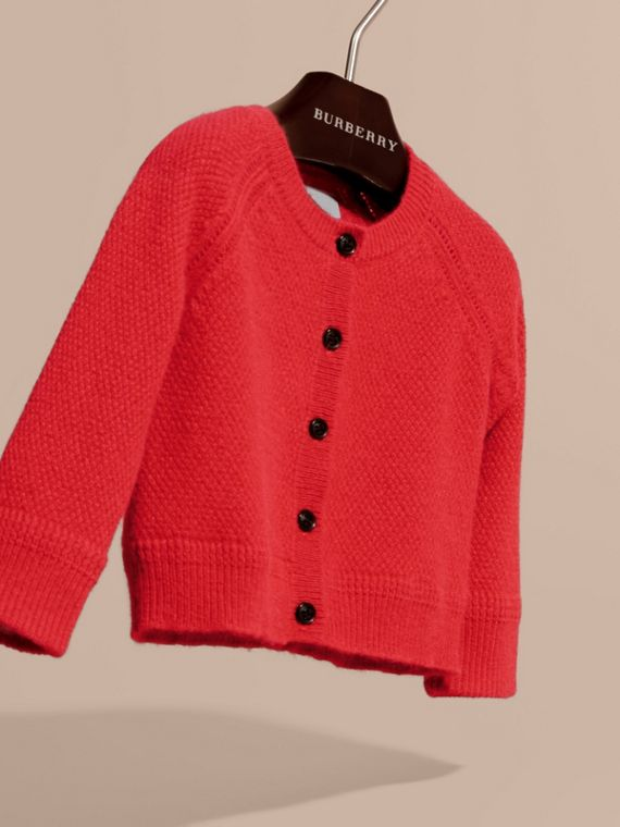 Textured Knit Cashmere Cardigan in Parade Red | Burberry - cell image 2
