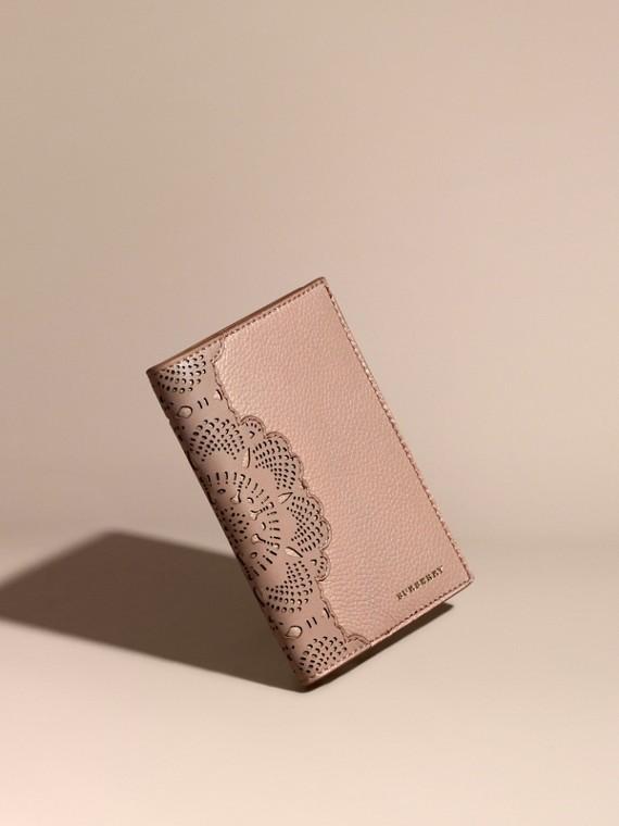Custodia per passaporto in pelle a grana Albicocca Pallido