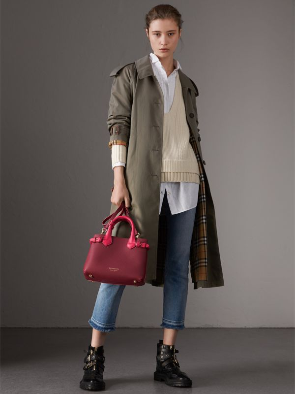 The Small Banner in Two-tone Leather in Berry Pink - Women | Burberry United Kingdom - cell image 2