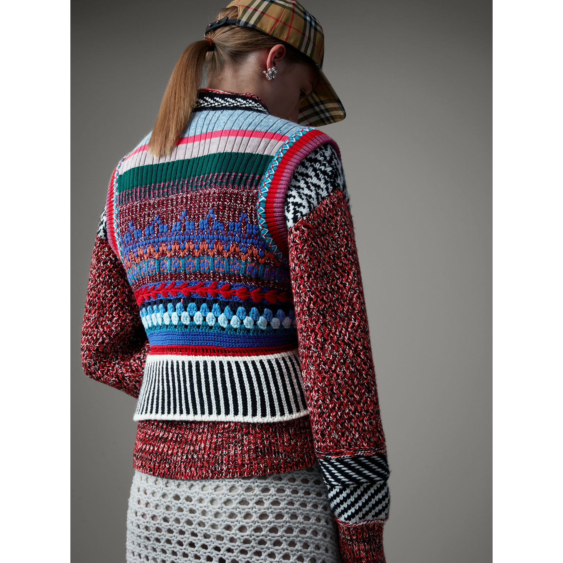 Hand-embroidered Wool Cashmere Blend Tank Top in Multicolour - Women | Burberry United Kingdom - gallery image 4