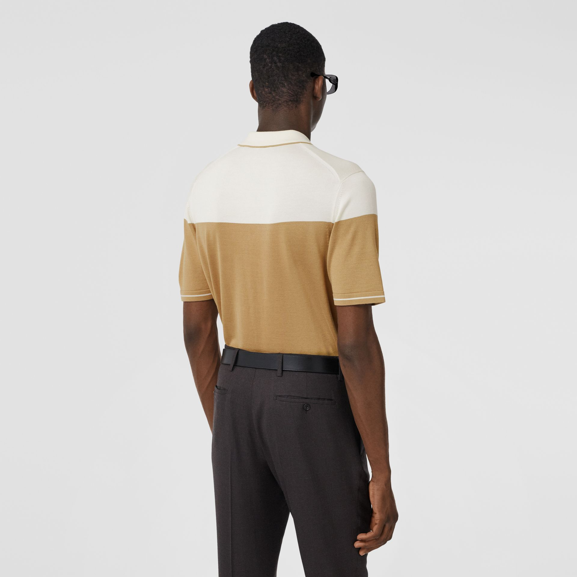 Monogram Motif Two-tone Silk Cashmere Polo Shirt in Archive Beige - Men | Burberry - gallery image 2