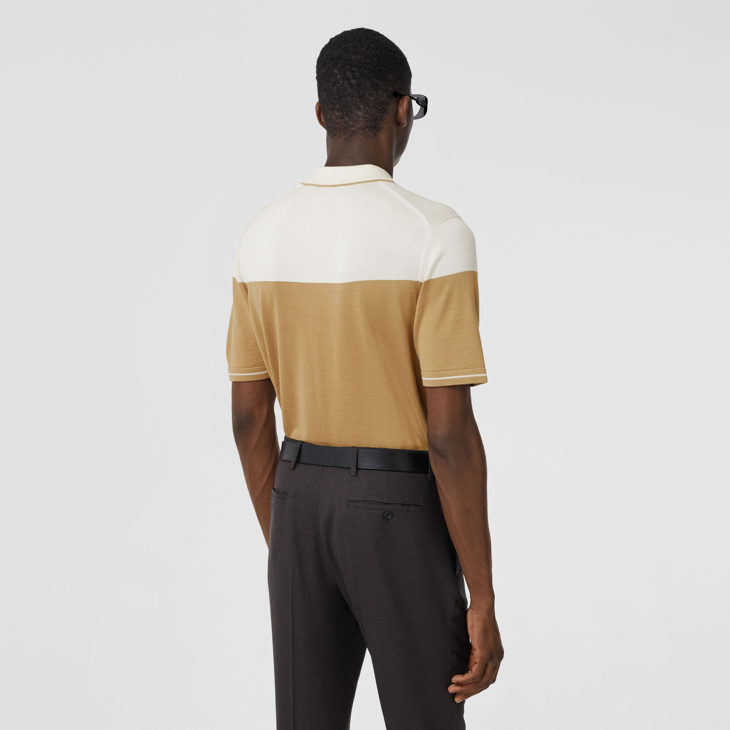 Monogram Motif Two-tone Silk Cashmere Polo Shirt in Archive Beige - Men | Burberry - 3