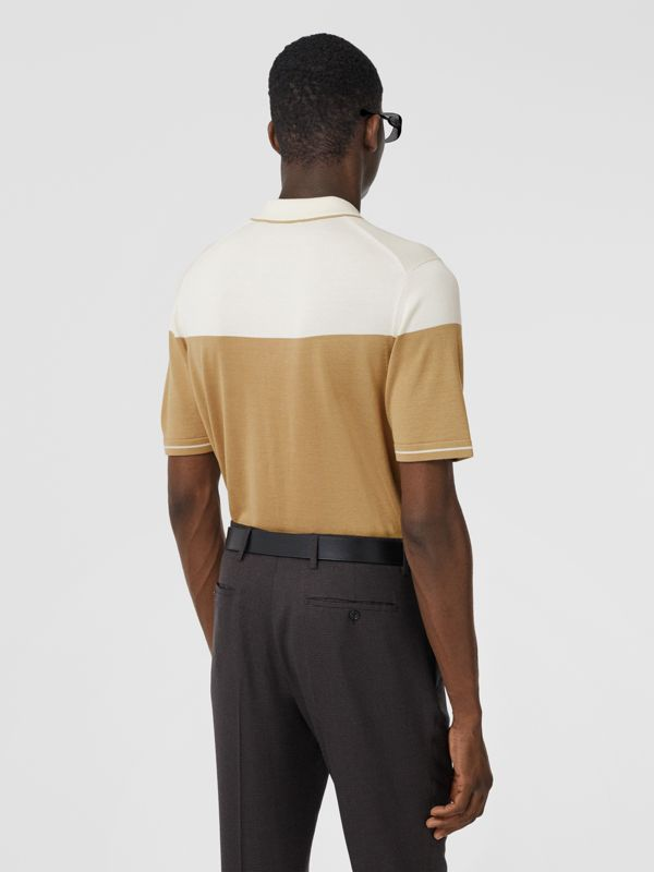 Monogram Motif Two-tone Silk Cashmere Polo Shirt in Archive Beige - Men | Burberry - cell image 2