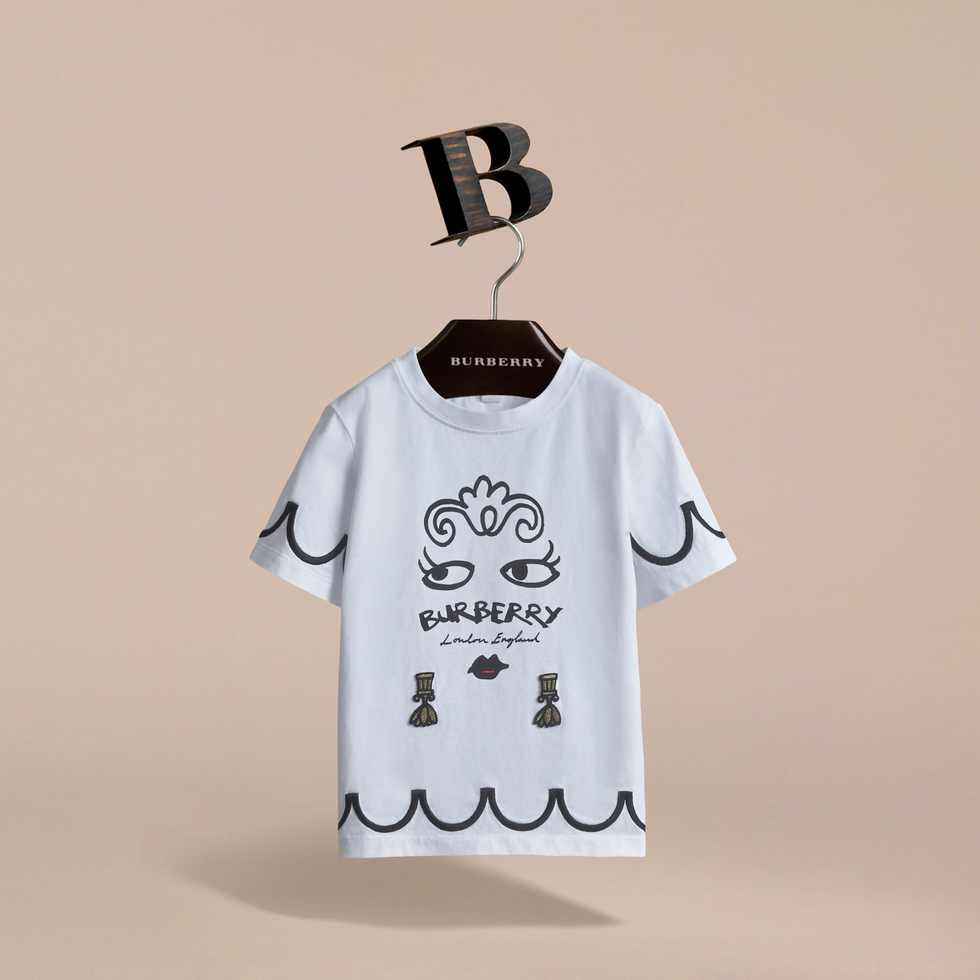 Lady Print Cotton T-shirt in White - Girl | Burberry Australia - gallery image 3
