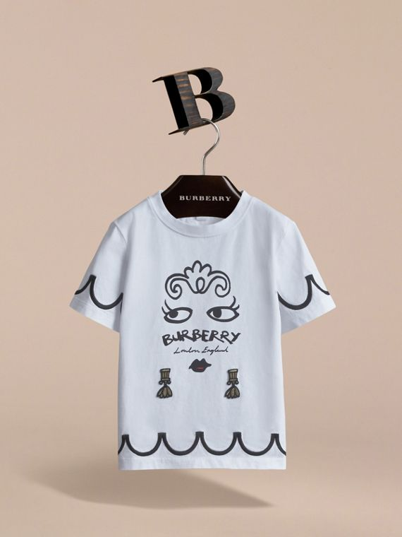 Lady Print Cotton T-shirt in White - Girl | Burberry - cell image 2