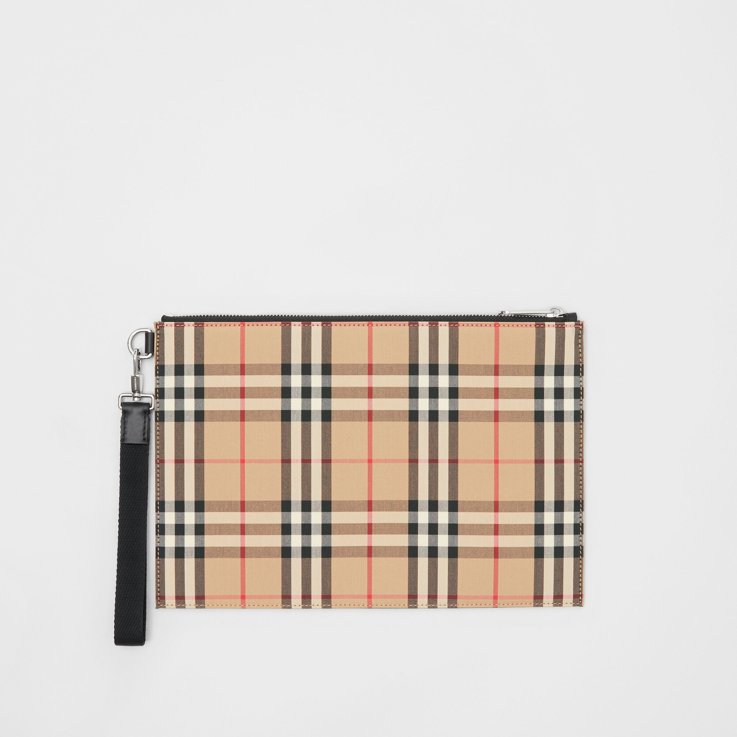 Vintage Check Cotton Zip Pouch in Archive Beige | Burberry Canada - 1