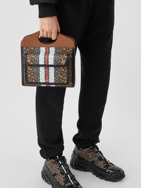 Mini Monogram Stripe E-canvas Pocket Bag in Bridle Brown - Women | Burberry United States - cell image 2