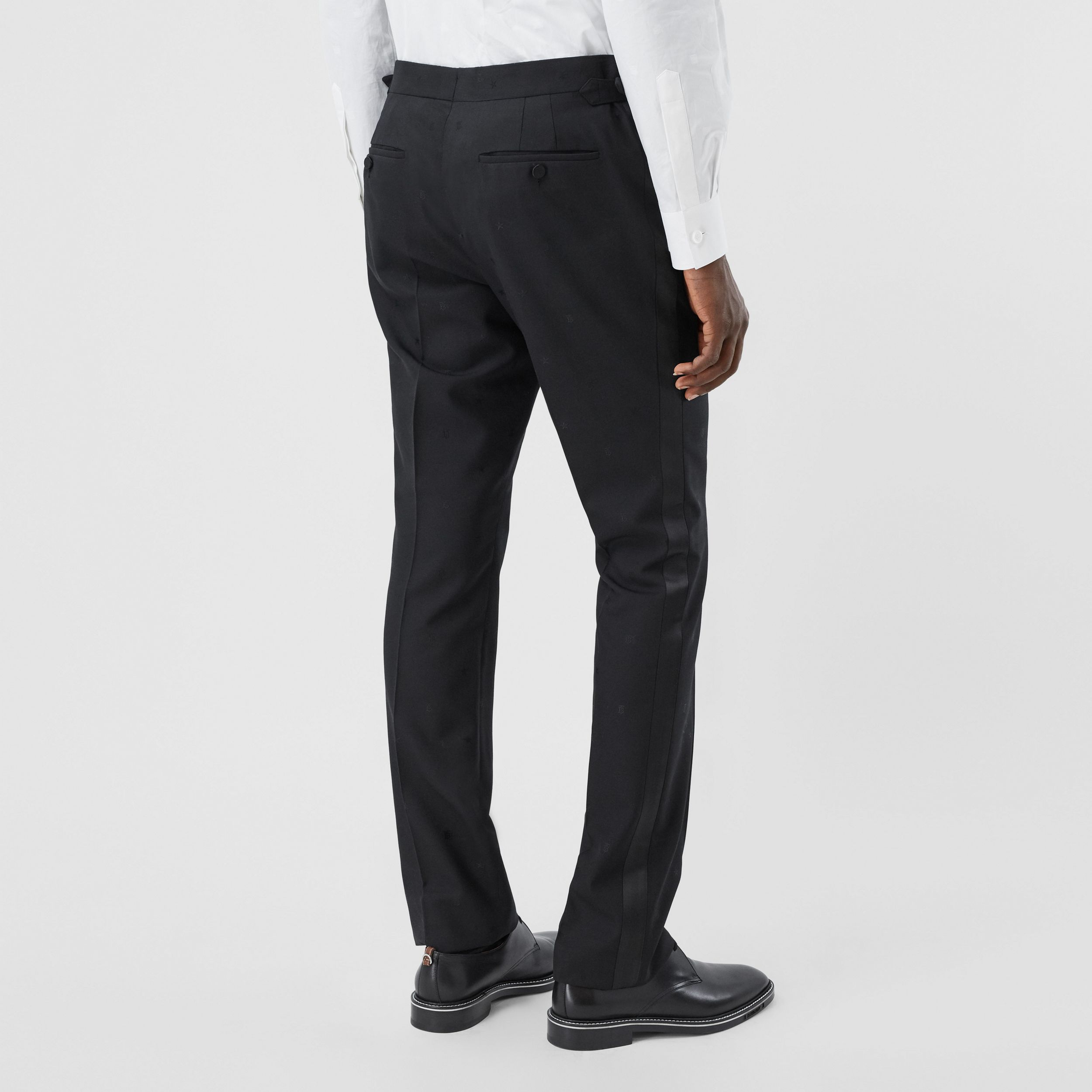 Star and Monogram Motif Wool Silk Jacquard Trousers in Black - Men | Burberry - 3