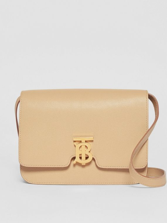 Medium Grainy Leather TB Bag in Archive Beige