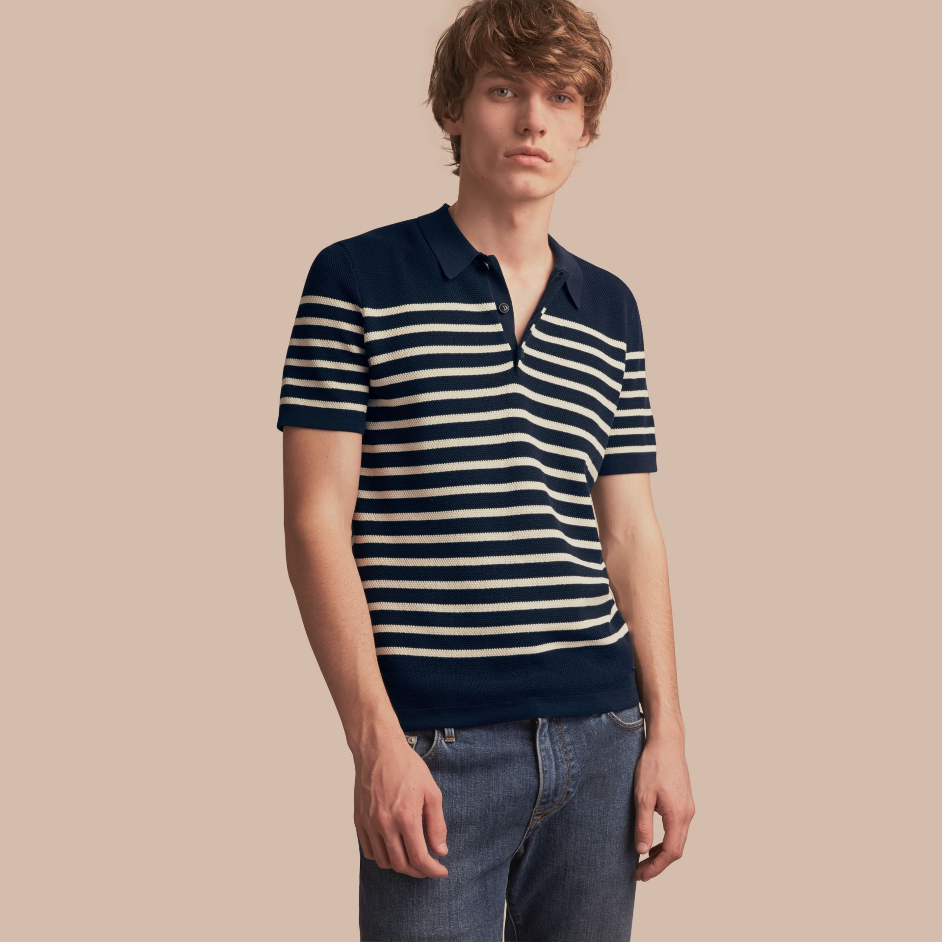 Striped Knitted Cotton Polo Shirt in Navy - Men | Burberry Australia - gallery image 1