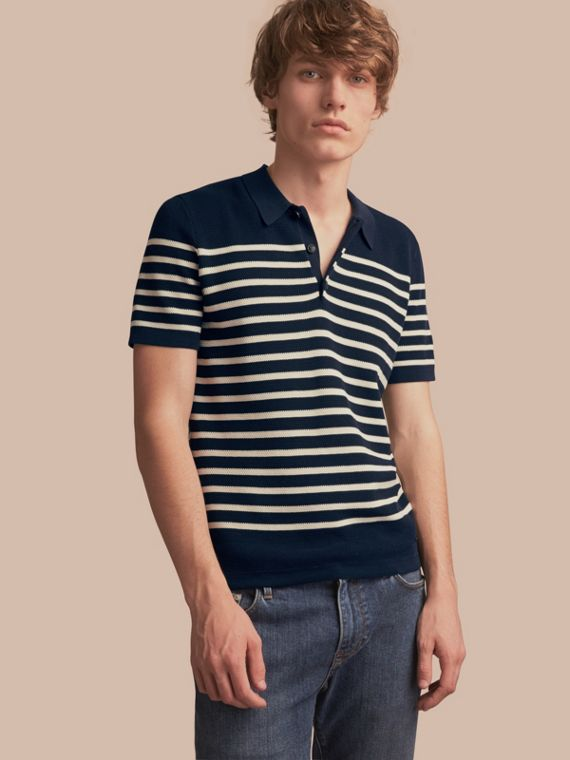 Striped Knitted Cotton Polo Shirt Navy