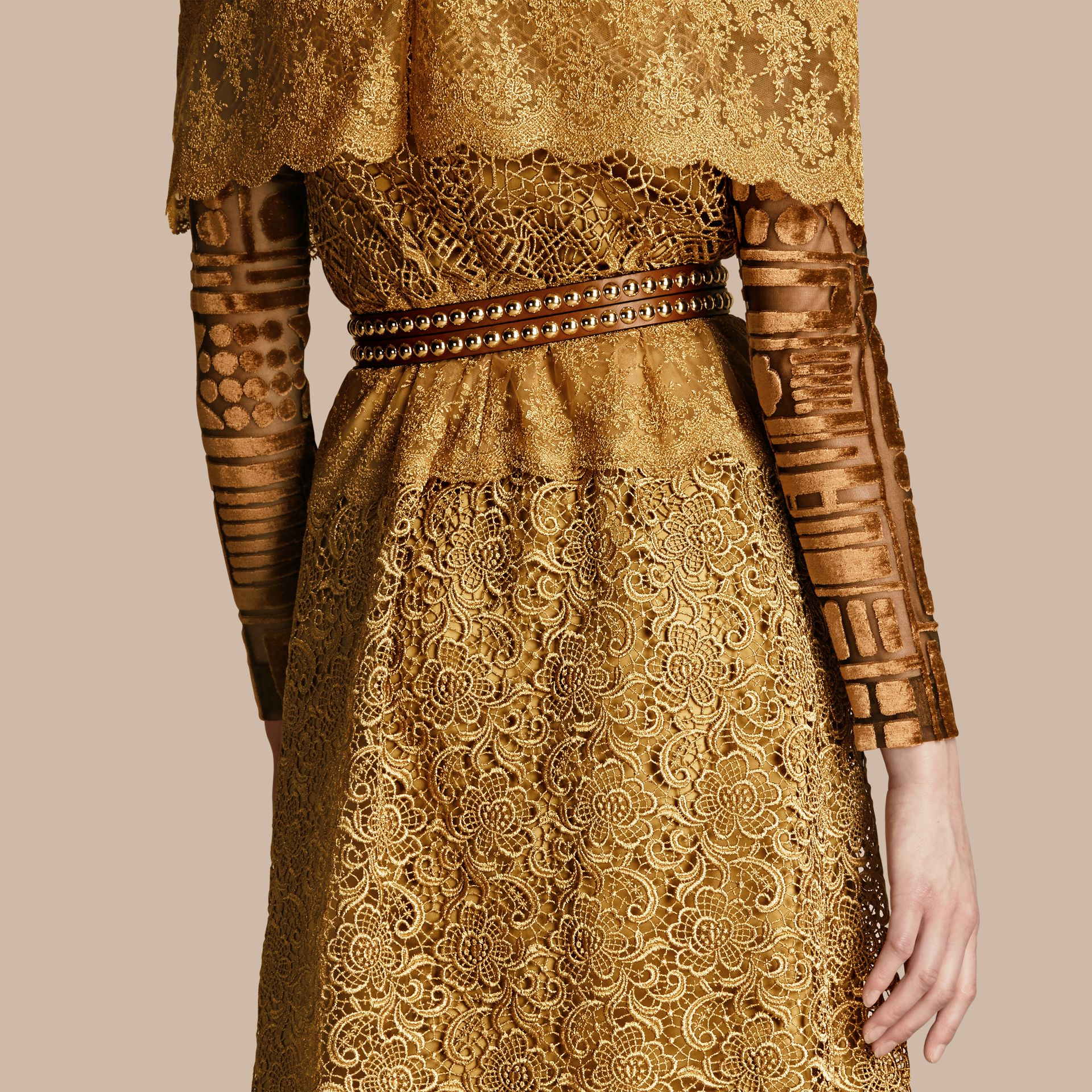 Gold Cape-sleeved Macramé Dress - gallery image 6