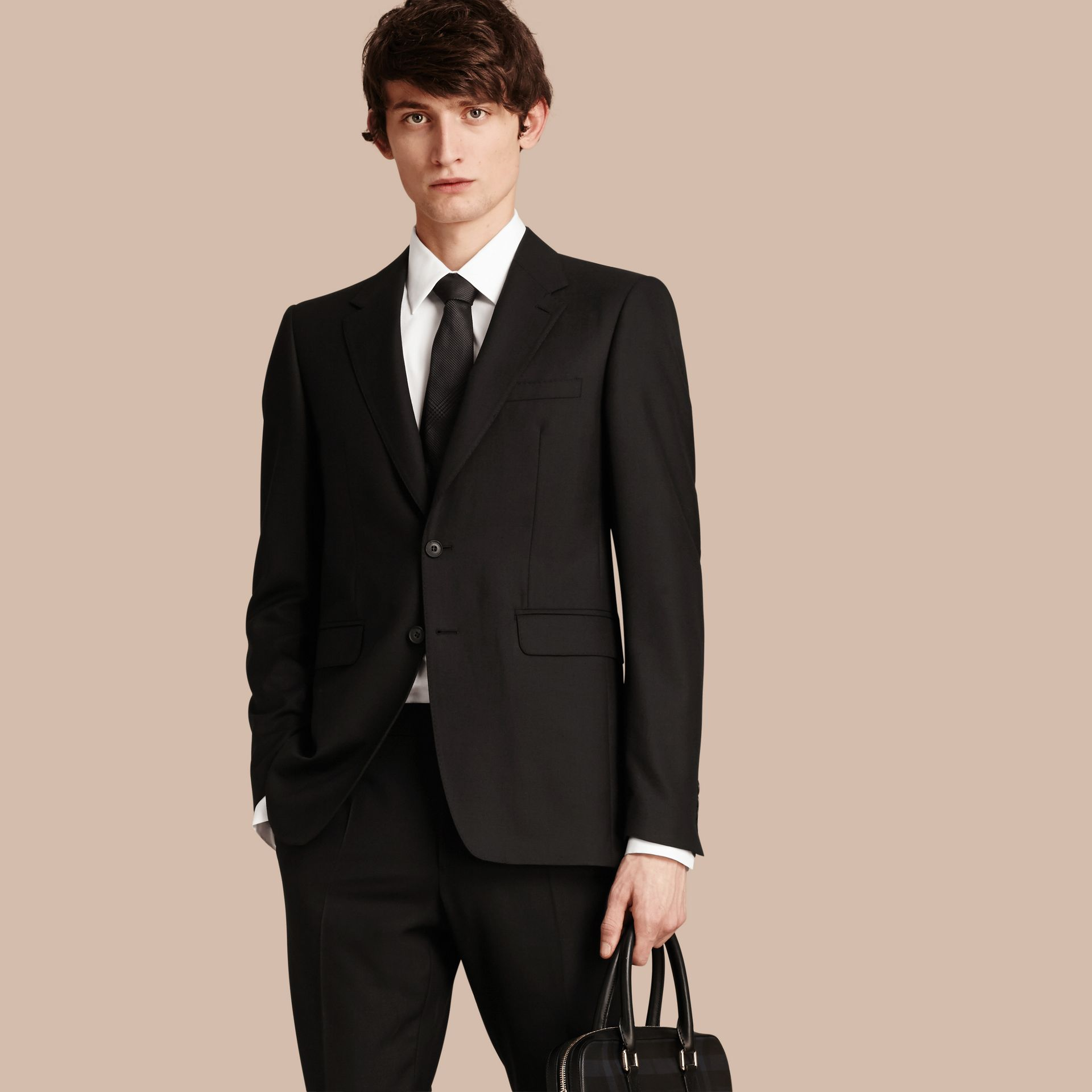 Black Modern Fit Wool Part-canvas Suit Black - gallery image 8