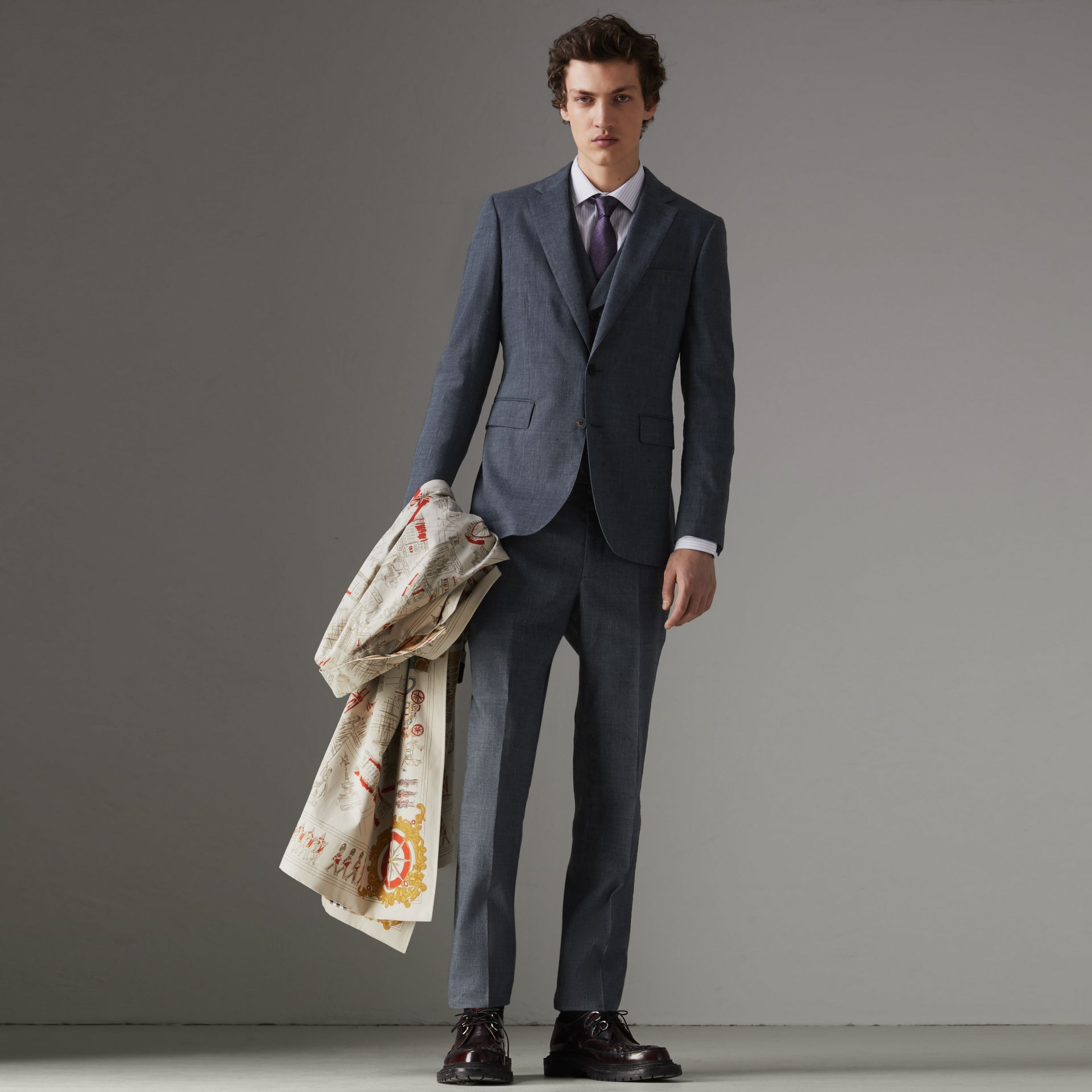 Soho Fit Linen Wool Three-piece Suit in Pale Slate Blue - Men | Burberry - gallery image 0