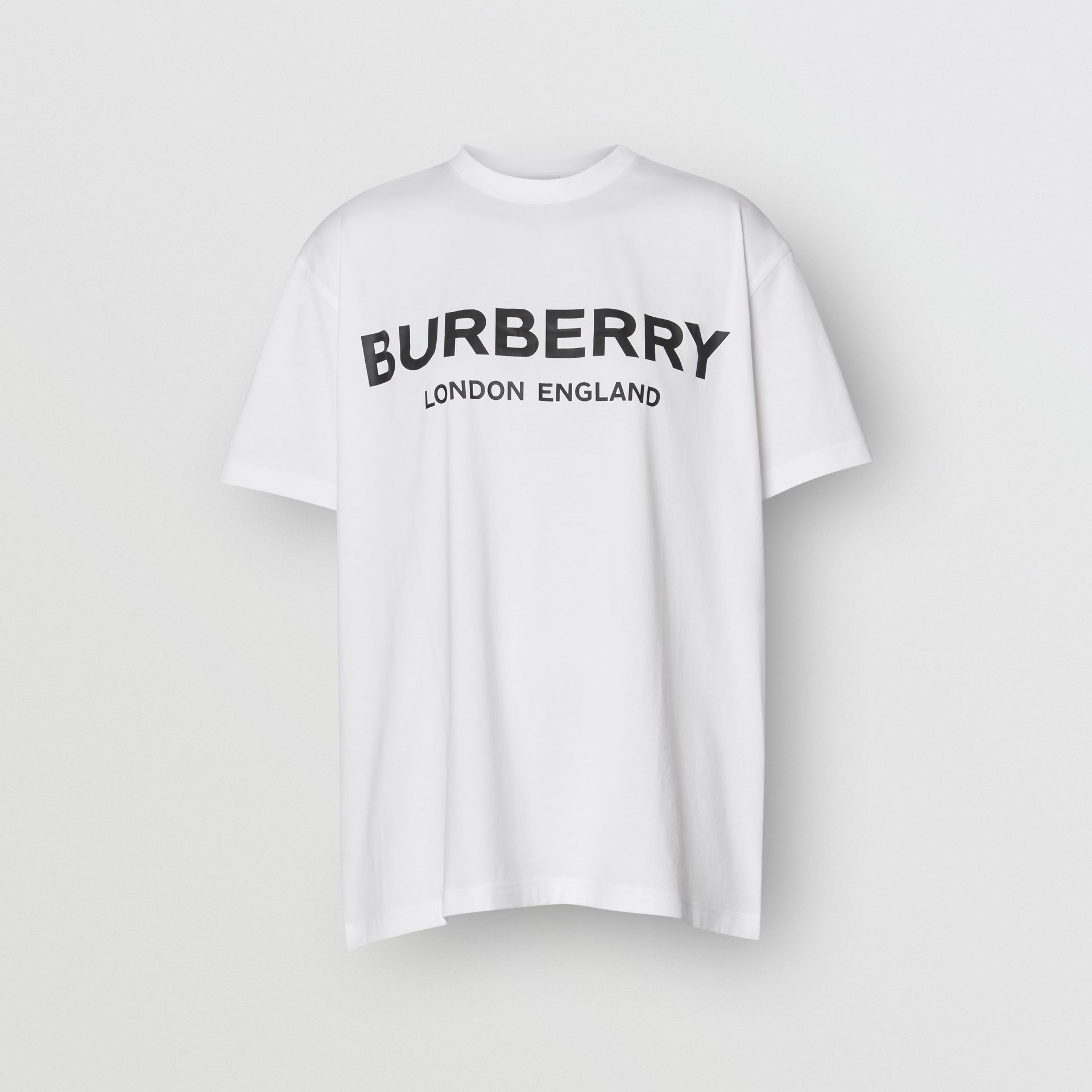 Logo Print Cotton T-shirt in White - Women | Burberry - gallery image 3