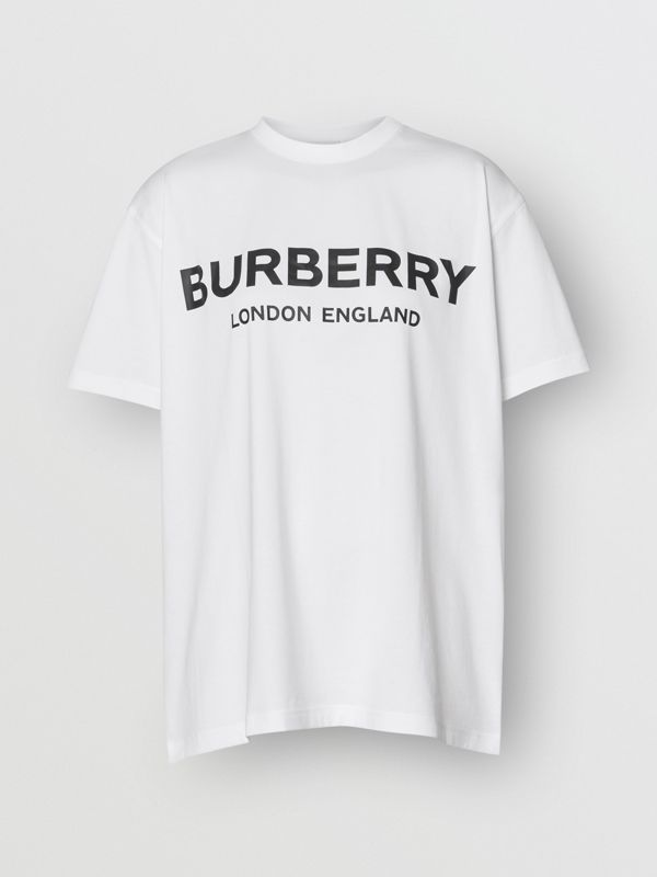 Logo Print Cotton Oversized T-shirt in White - Women | Burberry - cell image 3