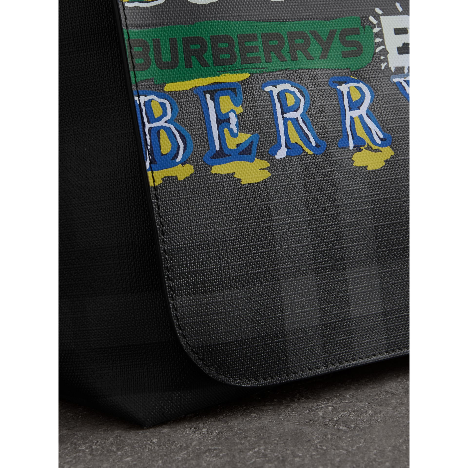 Large Logo Print Messenger Bag in Charcoal - Men | Burberry Singapore - gallery image 1