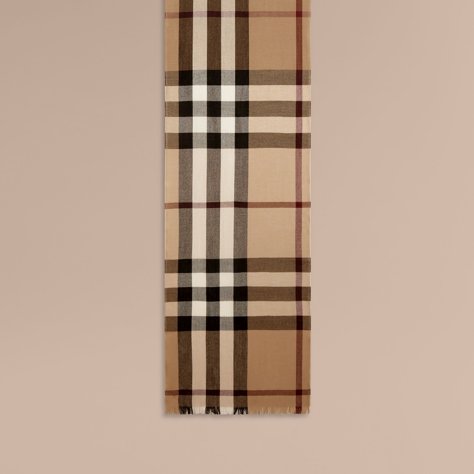 Lightweight Check Wool Cashmere Scarf in Camel - gallery image 2