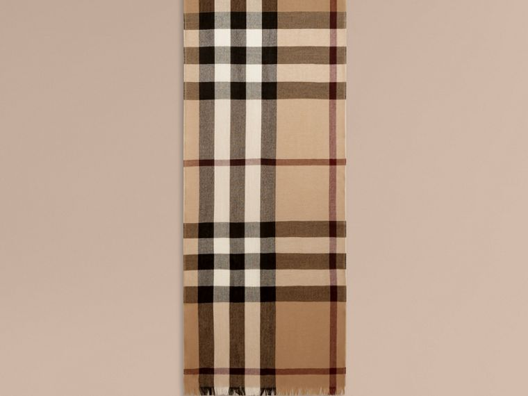 Lightweight Check Wool Cashmere Scarf in Camel - cell image 1