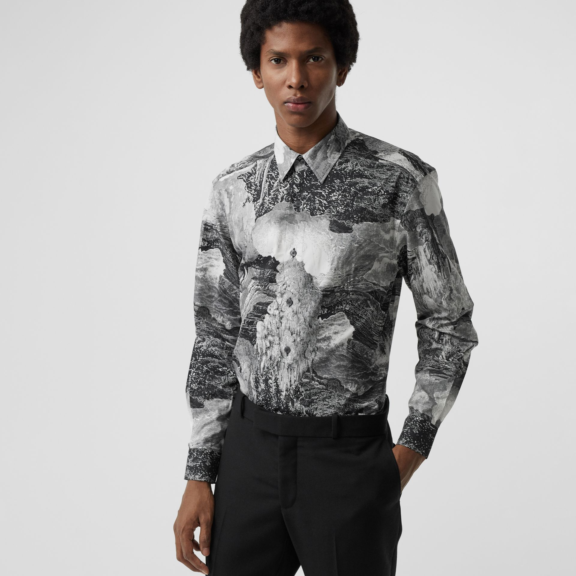 Dreamscape Print Cotton Silk Shirt in Black - Men | Burberry Australia - gallery image 0